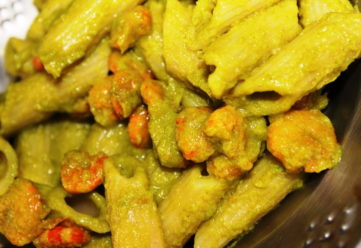 PASTA DISH: PENNE PASTA (in green sauce) with Prawns - Recipe in masalahealth.com