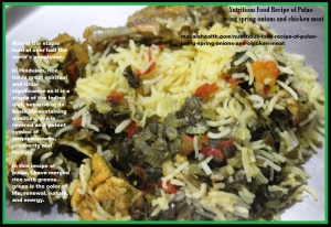 Nutritious Food Recipe of Pulao/Pilaf using spring onions and chicken meat in masalahealth.com