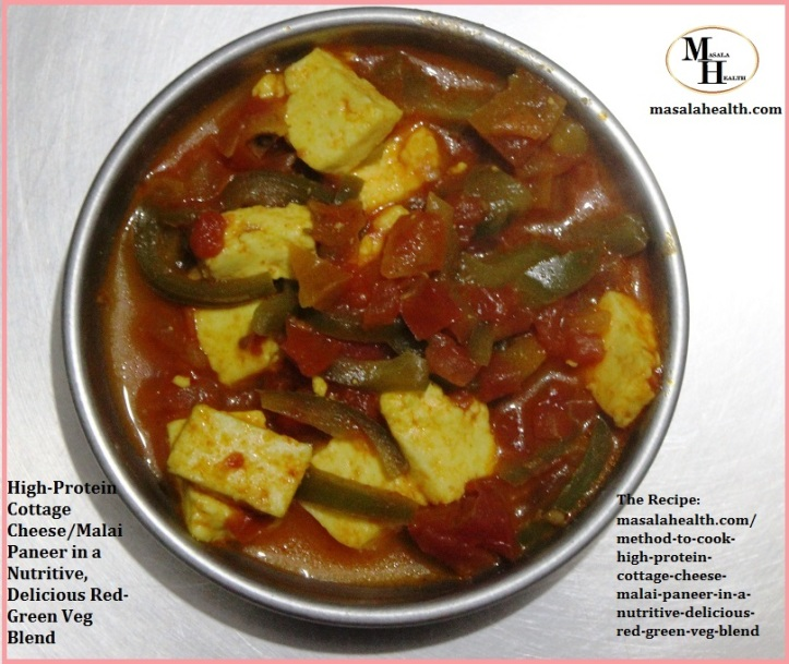 High-Protein Cottage Cheese/Malai Paneer in a Nutritive-Delicious Red-Green Veg Blend - Recipe in masalahealth.com