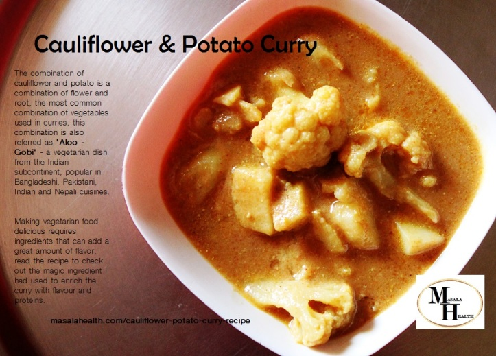Cauliflower and Potato Curry - Recipe in masalahealth.com