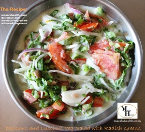 Raw Vegetable Salad: Delicious and Luscious Veg Salad with Radish Greens in masalahealth.com