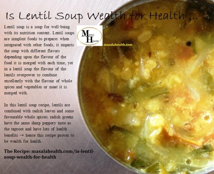 Lentil Soup/Dal: Lentil Soup with Radish Greens - Recipe in masalahealth.com