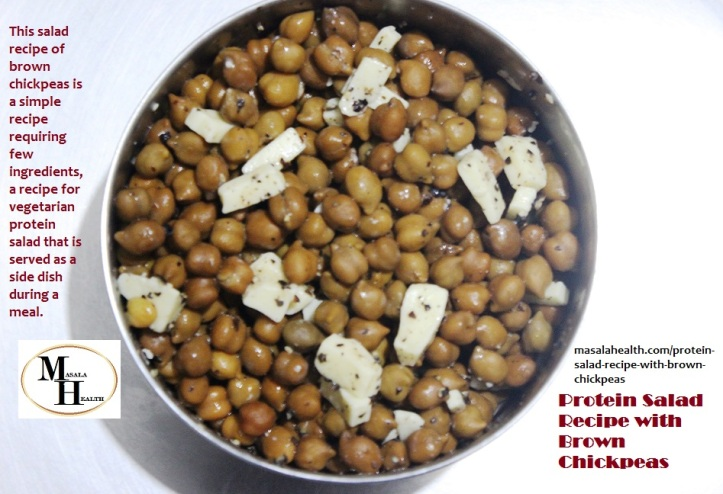 Protein Salad of Brown Chickpeas - Recipe in masalahealth.com
