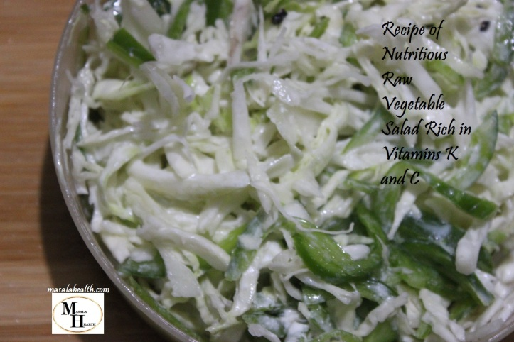 Nutritious Raw Vegetable Salad Rich in Vitamins K and C - Recipe in masalahealth.com