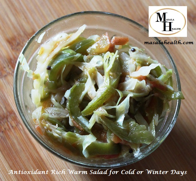Antioxidant Rich Warm Salad for Cold or Winter Days - Recipe in masalahealth.com