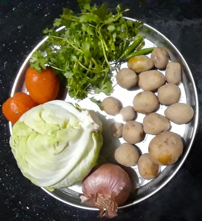 Vegetables and Herbs - Cabbage, Onion,Tomatoes, Baby Potatoes, Coriander Leaves and Green Chillies