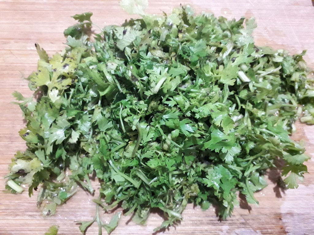 A Handful of Sliced Coriander Leaves