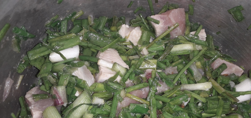 Spring Onions merged with Chicken Meat