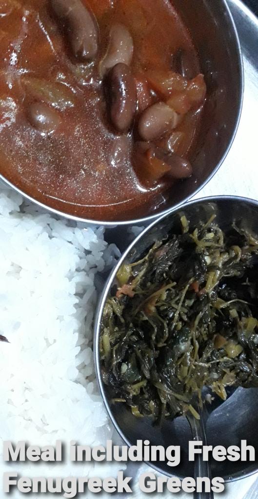 Meal including Fresh Fenugreek Greens