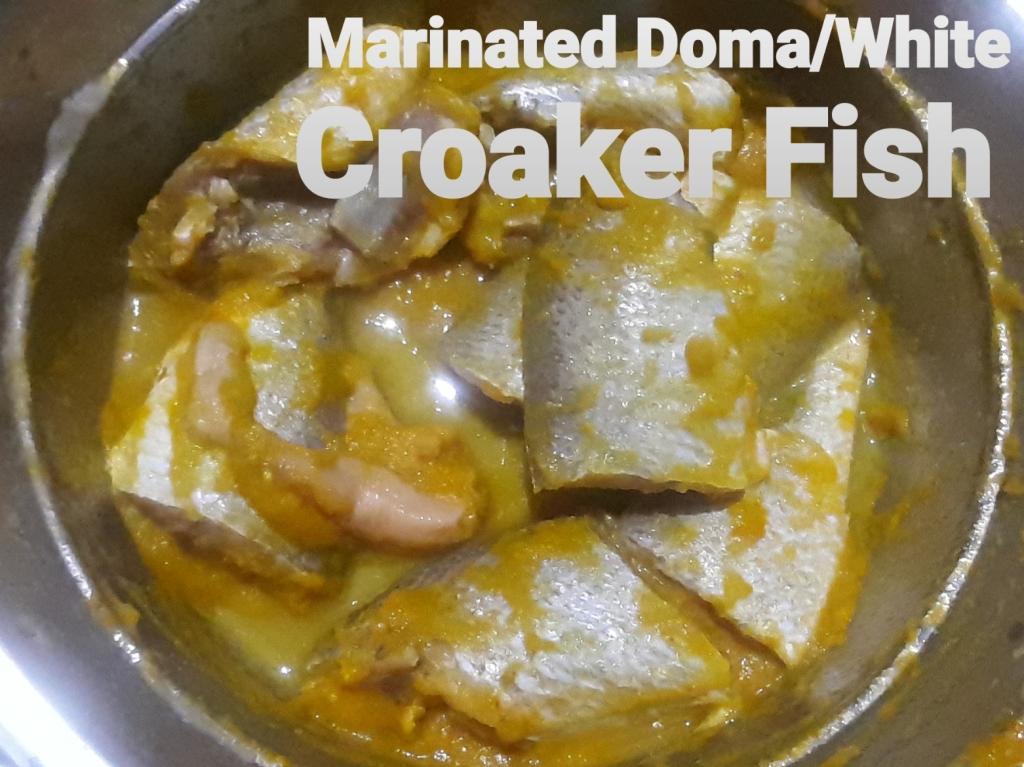 Marinated white croaker fish
