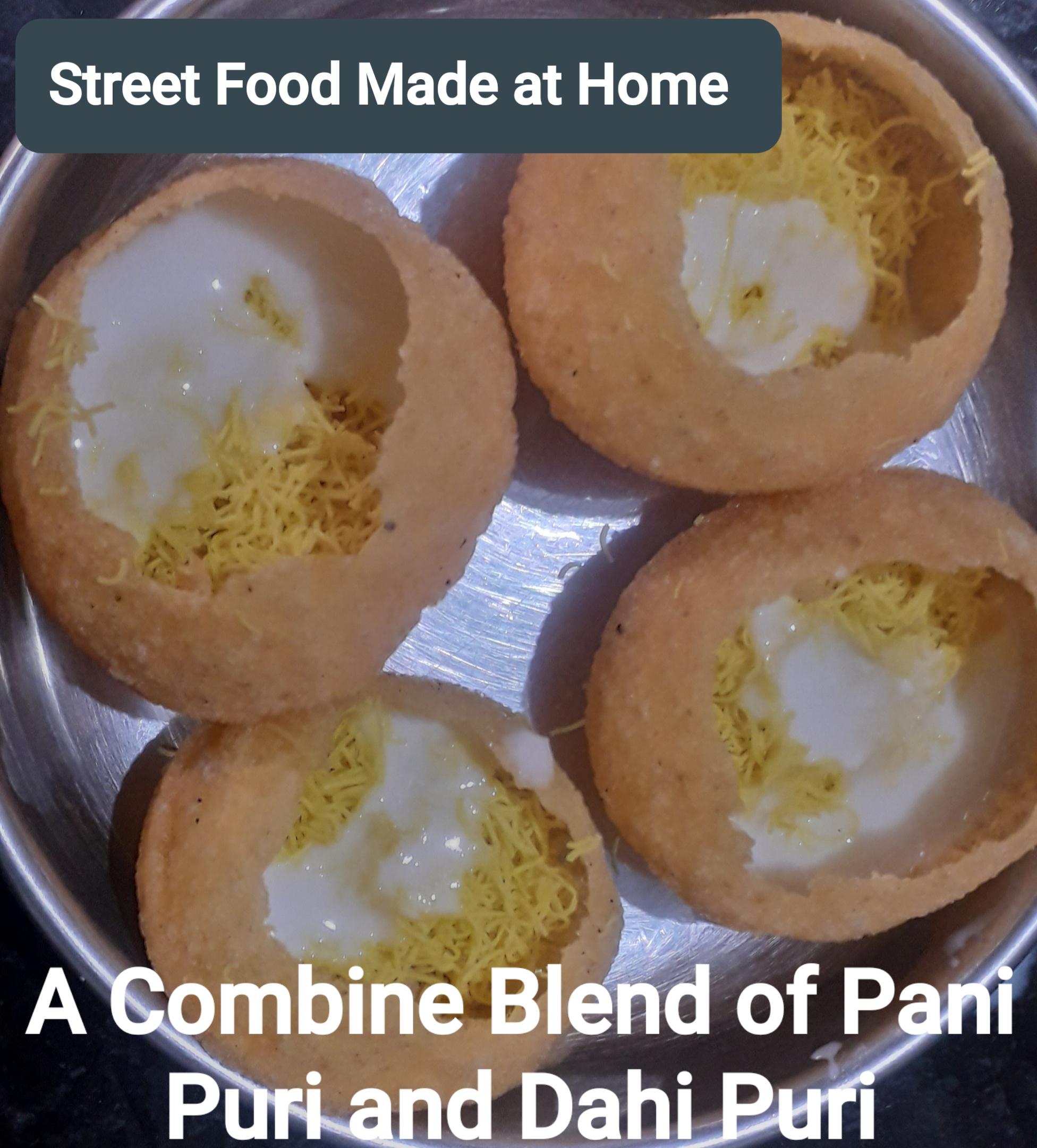 a combine blend of pani puri and dahi puri